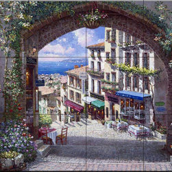 The Tile Mural Store (USA) - Tile Mural - Arch De Cagnes - Kitchen Backsplash Ideas - This beautiful artwork by Sam Park has been digitally reproduced for tiles and depicts a street view of Cagnes looking through an archway  This street scene tile mural would be perfect as part of your kitchen backsplash tile project or your tub and shower surround bathroom tile project. Street scenes images on tiles add a unique element to your tiling project and are a great kitchen backsplash idea. Use a street scene tile mural, perhaps a Tuscan theme tile mural, for a wall tile project in any room in your home where you want to add interesting wall tile.