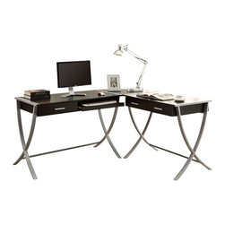 Monarch Specialties - Monarch Specialties 7176 3 Piece Corner Desk in Cappuccino & Silver Metal - Having a hard time getting your children to do their homework? Get this modern 3 pcs hollow-core corner desk. The  uniquely shaped silver metal legs provide study support while the cappuccino finish adds style. This desk offers ample room for a table lamp, picture frames and a computer. Conveniently store your pens, papers and books in the  two drawers. This corner desk is so practical you may even have the adults stuck at it!