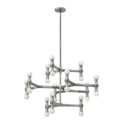 Fredrick Ramond - Fredrick Ramond FR41949PAL Karma 24 Light Chandeliers in Polished Aluminum - Karma's modern European design is constructed from light weight die cast aluminum. The unique, arm design features up and down lamping, complemented by a chic Polished Aluminum finish.
