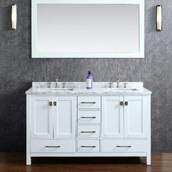 "NEW Bathroom Vanities by Ari Kitchen and Bath - Beautiful transitional style bathroom vanity by Ari Kitchen and Bath, a new brand manufacturing quality bathroom decor at affordable prices. The new 60"" Bella comes with 1"" edge Italian carrara marble top, backsplash, rectangle undermount CUPC basins, soft-closing drawers and doors, concealed drawer hinges, white framed mirror and solid wood bathroom cabinet. Absolutely no MDF or Particle board on all of our bathroom vanities. All of our bathroom vanities come completely assembled by the manufacture, minimal assembly required. Cabinet Dimensions: 60"" height x 22"" width x 34.5"" height Mirror Dimensions: 60"" width x 31.5"" length"