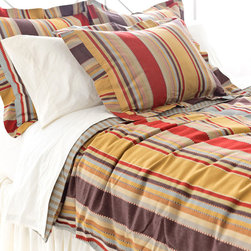 Pine Cone Hill - Pine Cone Hill Whitney Duvet Cover - Double the StripesGive your space a boost of bold with the Whitney Duvet Cover from Pine Cone Hill. Crafted from durable cotton, this double-sided bed cover combines striking stripes with vivid colors. Golden yellows, tans, and reds come together for a stunning effect on one side, while blue and brown stripes give the reverse a timeless feel. Let it liven up your transitional space, or use it as a graphic touch in your craftsman bedroom.Double-sided duvet coverHidden-button closureAvailable in three sizes