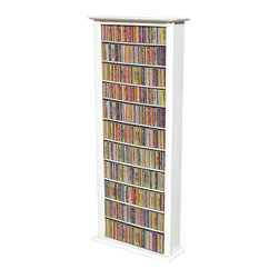 Venture Horizon - Extra Tall 12-Shelf Single Media Storage Towe - A crisp white finish gives this tall media tower a sophisticated edge, making it a modern choice for any decor. Constructed of wood composite, the unit features 12 adjustable shelves and is a great way to keep your entire movie and music collection organized and at your fingertips. Adjustable shelving. Holds entire media collection. Constructed from durable, stain resistant and laminated wood composites that includes MDF. Made in the USA. Assembly required. Media storage capacity:. CD's : 754. DVD's : 312. Blu-ray's: 378. VHS tapes: 176. Disney tapes: 152. Audio cassettes: 800+. Weight: 48 lbs.. Shelf depth: 6 in.. Assembled size: 28 in. W x 9.5 in. D x 76 in. HMaximize Your Storage Capacity. Nobody does it better! You may have seen other Media Storage Towers in your journeys but you have never come across the styling, variety, storage capacity or value for the money, anywhere. We beat the competition...hands down. We offer 6 sizes in 5 colors. We also did not skimp on the sizing like many other manufacturers. Our Media Storage Towers will indeed hold an entire media collection and then some. Our units hold over 40% more media (CD's, DVD's and VHS Tapes) than our leading competitors. All that in a wall hugging slim cabinet design. Shelves are only 6 in. deep but a generous 24 in. wide. The 76 in. high Single Tower has 12 adjustable shelves plus the fixed base. The 76 in. Double has 24 adjustable shelves plus 2 base sections for storage. The 76 in. Triple Tower has 36 adjustable shelves plus 3 base sections for storage. See the table above for shelving information on the 50 in. models. You can also choose to assemble any tower with or without the decorative Top Molding depending upon the look you want.