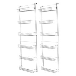 Trademark Home Collection - Steel Over-Door Storage Racks, Set of 2 - Set of 2. 6 shelves hold everything from canned foods to gifts wrap, craft items to cleaning products or as many as 78 VHS tapes. Can be mounted to a wall or hung over the inside of just about any door. Will not harm the finish of wall or door. 19 in. W x 5 in. DOverdoor 5 foot Storage Basket Racks! You'll love how much extra space the 5 foot over door rack gives you.