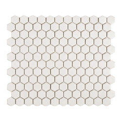 Somertile - Somertile Victorian Hex Matte White Porcelain Mosaic Tiles (Pack of 10) - Transform your bathroom or kitchen into a Victorian oasis with this pack of 10 white porcelain mosaic tiles that feature a classic hexagon shape. The matte finish makes them versatile to use in smaller projects,such as for tabletops or in artworks.