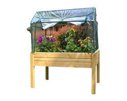 Riverstone Industries - Eden Raised Mini Green House - The Eden Mini Greenhouse System by Riverstone (RGB-LE) is the Ideal Vegetable & Herb Growing system. The system assembles in under 15 minutes and requires no tools to assemble. The unit blends into all environments nicely and can be stained or painted to match any exterior setting including your porch or deck. The elevated growing surface and covering system allows it to accomplish things a standard garden cannot, similar to a greenhouse. The elevation is the perfect height for sitting and gardening, perfect for bad backs!! The best and most nutritious vegetables come from warm, rich, weed and pest free soil. The Eden Mini Greenhouse System elevated growing surface is always substantially warmer in the spring than the ground level under it. Also, as you fill the Eden Mini Greenhouse with rich soil and pure compost, you are maximizing the organic nutrients needed for perfect vegetables. With this system, the soil can be weed free, with no slugs or snails, grubs or weeds with no need for chemical fertilizers or pesticides. Possibly the best feature is gardening while sitting on a stool or bench. The UV protected covering with protective mesh netting to keep insects and rodent out, trap the sun's warmth while allowing air to flow within the garden. Your garden will also be protected from too much rain, wind, pets and any other animal roaming nearby. The Eden Mini Greenhouse System also has the ability to quickly remove the top enclosure if wanting to use the Eden as a decorative raised bed or to allow for larger vegetables or herbs to grow freely. With multiple sizes you are sure to find an Eden Greenhouse and Herb Garden to meet your needs.