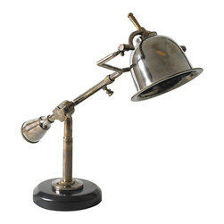 """Inviting Home - French Style Desk Lamp - 1920s French style adjustable solid brass desk lamp; 7-1/8"""" x 22-5/8"""" x 16-1/8""""H; The many subtle details of this classic 1920s French lamp easily impress. Yet in construction of this desk lamp nothing was done easily. Every facet is well executed and perfect. An intriguing solid counterweight balances the compact bell-like shade. A mix of Bauhaus and French Deco! Easily invokes the spirit of Baudelaire and Proust��_UL approved - dry location - plug-in."""