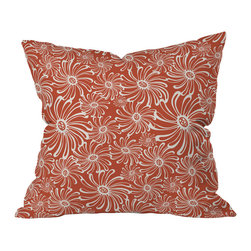 DENY Designs - Heather Dutton Bursting Bloom Spice Throw Pillow, 18x18x5 - Pick this print for chic charm. A warm spicy color and a big, bold graphic — who says florals have to be fussy?
