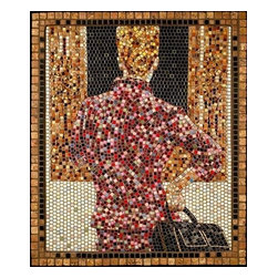 "The Connoisseur Mosaic Art - I use this ancient medium to create 21st century imagery. The Connoisseur reflects that special someone in our lives who thinks they know it all. A charming representation, it is 32.75"" x 27.5"" in dimension, and created from micro mosaic tile (3/8"") and marble. It is ready to hang."