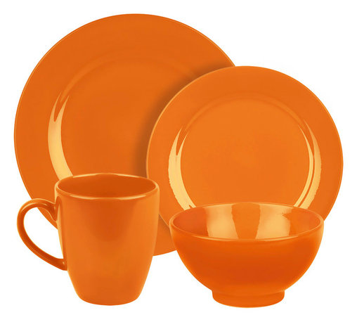 Waechtersbach - Fun Factory Place Setting, Orange, 4 Piece - With our well-known Fun Factory collection you get fun and joy into your home. We offer high-quality dishes for every occasion. Whether you prefer a quick breakfast or an extensive dinner; with our collection you can always find the right shape. Whether green or blue; black or white our wide range of colors offer something for everyone.