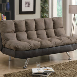 Coaster - Brown Contemporary Sofa Bed - This two-tone sofa bed features plush fiber-filled top for comfort and wrapped in a durable microfiber fabric. The chrome finished legs create the contemporary look of this piece.