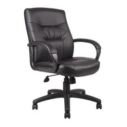 BOSS Chair - Mid-Back Knee Tilt Padded Arm Chair in Black - Viewed from any angle, this mid-back office chair has a pleasant profile. And it's a superior performer, too - specifically crafted with productive people in mind. Black LeatherPlus upholstery adds a soft feel to the padded seat & back. Adjustable controls let you customize the comfort level. Beautifully upholstered in black LeatherPlus. Passive ergonomic seating with built-in lumbar support. Padded armrests covered with Caressoft upholstery. Large 27 in. nylon base for greater stability. Hooded double wheel casters. Upright locking position. Pneumatic gas lift seat height adjustment. Adjustable tilt tension control. Arm Height: 26.5 - 30 in. H. Seat Size: 21 in. W x 19 in. D. Seat Height: 20 - 23.5 in. H. 27 in. W x 28.5 in. D x 39.5 - 43 in. H. Weight Capacity: 250 lbs.
