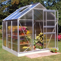 Halls Popular 6 x 6-Foot Greenhouse Kit - Additional Features Includes aluminum or plastic strips to attach to the ends Strips prevent objects getting stuck between the layers UV resistant coating protects your plants Includes a base which adds 5-inches to the height Door measures 24W x 64H inches Sidewall measures 4 feet Peak height measures 6.5 feet Measures 6W x 6L x 6.5H feet The Halls Popular 6 x 6 Greenhouse Kit provides plenty of space for your plants and flowers. The greenhouse is made with 4mm thick double-walled panels that have a polycarbonate glaze to diffuse the light and a protective UV resistant coating to keep your plants from getting burned. Lightweight and virtually unbreakable the Halls Popular Greenhouse features plastic or aluminum strips that attach to the ends and prevents dirt bugs and other foreign objects from getting stuck between the panels. The greenhouse base is included in this kit and adds an additional five inches to your greenhouse. Assembly is a weekend project for one or two people. About The Greenhouse Connection LLCThe Greenhouse Connections was established in 1993 to connect gardeners who are looking for a well-made traditional English greenhouse with Halls Garden Products Ltd. of England the world's leading manufacturer of hobby greenhouses. By networking with a variety of people and companies including independent garden centers nurseries mail-order garden and seed catalogs and greenhouse supply companies The Greenhouse Connection does just that. Their offices are located in Grant Pass OR.