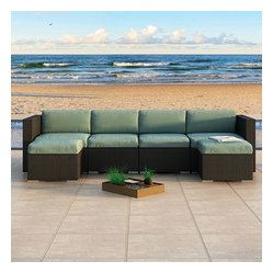 Urbana 6-Piece Wicker Patio Sectional Set, Spa Cushions
