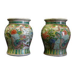 Golden Lotus - Pair Chinese Multi-color Round Porcelain Stand Display - This is a pair of decorative mini stool made of porcelain in colorful graphic. It can be as an accent alone or as a stand for statue.