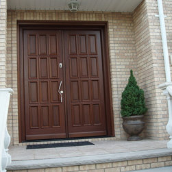 Custom Front Door in Mahogany finish - Front door model A188 in Mahogany finish, with brushed stainless steel handle, equipped with fingerprint access, custom designed by Bella Porta, imported from Austria.
