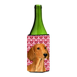 Caroline's Treasures - Dachshund Hearts Love and Valentine's Day Portrait Wine Bottle Koozie Hugger - Dachshund Hearts Love and Valentine's Day Portrait Wine Bottle Koozie Hugger SS4487LITERK Fits 750 ml. wine or other beverage bottles. Fits 24 oz. cans or pint bottles. Great collapsible koozie for large cans of beer, Energy Drinks or large Iced Tea beverages. Great to keep track of your beverage and add a bit of flair to a gathering. Wash the hugger in your washing machine. Design will not come off.