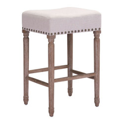 Zuo - Anaheim Counter Stool - Counter stool in beige polyester linen with nailheads. Oak wood legs.