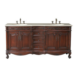 "72"" Saturn Double Sink Vanity With Cream Marble Marble Top - Accentuate and enhance your master bath with the addition of the 60"" Alexis Double Sink Vanity. No matter what your design style, from rustic to mission or contemporary to Tuscan, the uncomplicated lines combine with the stunning cherry finish to create a masterpiece for your bathroom. Three spacious drawers rest between two beadboard-style doors and offer plenty of storage for your bathroom necessities."