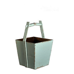 Antique Revival - Aqua Ming Bucket - This uniquely shaped, vintage-style, wooden Chinese water bucket is both functional and attractive. You can use it to store firewood or magazines while adding an accent piece to your living room, kitchen or sitting room. The light aqua finish is slightly distressed around the corners.
