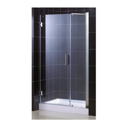 Dreamline - Unidoor Shower Door (28 in. Door Opening in Chrome) - Color: 28 in. Door Opening in Chrome. Includes 18 in. stationary glass panel. Base not included. Self-closing solid brass wall mounted hinges. Wall profile adjustable upto 1 in.. Reversible glass door for left or right-wall installations. On-site adjustment for out-of-plumb or general door rough opening upto 1 in.. ANSI certified. Made from 0.38 in. thick clear glass and aluminum. 28 in. door opening: 46 - 47 in. W x 72 in. H. 29 in. door opening: 47 - 48 in. W x 72 in. H. 30 in. door opening: 48 - 49 in. W x 72 in. H. Warranty. Installation Manual. Marketing Brochure. 28 in. Technical Drawing. 29 in. Technical Drawing. 30 in. Technical DrawingUnidoor is the only door you will ever need to complete an unforgettable design of your shower project. The smart design of the adjustable wall profile.