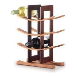 Anchor Hocking - Bamboo Wine Rack Espresso Acc. - Anchor Hocking Bamboo Wine Rack with Espresso Accents, Gift Boxed.  Stylish wine rack with modern Asian aesthetic holds 12 bottles, 3 curved shelves and base in natural bamboo; supports with espresso finish, Easy to assemble.