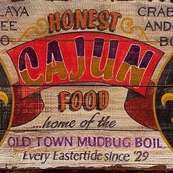Red Horse Signs - Vintage Cajun Restaurant Sign Rustic Primitive Wood Signs - Vintage  Cajun  Restaurant  Sign  -  Rustic  Primitive  Wood  Signs          Put  some  spice  into  your  rustic  room  with  our  vintage  Cajun  Food  restaurant  sign!  The  rustic  wood  panels  underneath  the  paint  give  it  the  look  and  feel  of  a  true  antique,  and  you  can  order  this  sign  in  two  sizes:  Small:  14x24  or  Large:  20x30.  Wording  on  this  large  rustic  restaurant  sign  reads,  Honest  Cajun  Food...home  of  the  Old  Town  Mudbug  Boil.  Every  Eastertide  since  '29.  Jambalaya,  Etoufee,  Gumbo,  Crab  Cakes,  Andouille,  Boudin.  You  can  customize  wording  on  this  sign  and  create  your  own  personalized  advertisement.  Please  allow  up  to  three  weeks  for  delivery.          Product  Specifications:                  Southern  Rustic  Sign              Available  in  2  sizes:  14:x24  and  20x30              Printed  directly  to  distressed  wood              Note:   Allow  three  weeks  for  delivery  of  any  vintage  signs  with  custom  word  changes