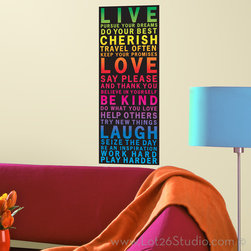 Live Love Laugh Colorful Wall Decal Banner - A modern twist for wall décor. Be inspired in a large way by placing this colorful Live, Love, Laugh wall decal banner in any room in the house. Simply peel, stick, and cherish your new colorful typography wall decoration.