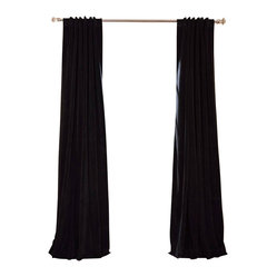 Exclusive Fabrics & Furnishings, LLC - Signature Warm Black Blackout Velvet Curtain - Keep the light out and the heat in with these luxurious, lustrous curtains. Crafted from soft poly velvet and available in a variety of rich colors, they'll give your windows the royal treatment.
