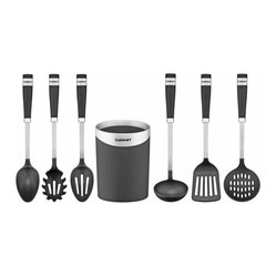 Cuisinart - Cuisinart Barrel Handle Series 7-Piece Boxed Tool Set with Storage Crock - Don't flip out in the kitchen. Just get yourself this serious set of utensils. Each pro tool is ingeniously designed for its task, and the soft barrel handle gives you the greatest grip ever.