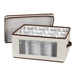 """Household Essentials - Goblet Stemware Chest - Protect your fine crystal and know exactly which piece and pattern you have with these Window Vision® China/Crystal Storage Chests.  These strong and durable boxes are attractively covered in cream-colored poly/cotton canvas with brown trim.  Each chest is equipped with felt protectors or cardboard dividers to safely store a service for 12 so your fine pieces do not emerged cracked or broken.  With riveted handles able to support up to 25 lbs. you can confidently tuck your fine crystal away and pull it out for festive presentations or . . . just because.  Enjoy the finer things in life and care for them well.   -DetailsStrong and durable boxes are attractively covered in cream-colored polyester canvas with brown trim.  Windows in the boxfronts allows contents inside to be seen.  Each chest comes with felt protectors or cardboard dividers to store a service for 12.  Riveted handles support weight up to 25lbs. Height: 10.5""""Width: 16.5""""Depth: 13"""""""