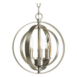 Progress Lighting - Progress Lighting Equinox Three-Light Sphere Pendant - 3-bulb Lighting sphere. This foyer lantern was inspired by ancient astronomy armillary spheres. The interlocking rings pivot for an infinite variety of positions.