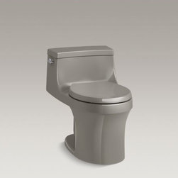 KOHLER - KOHLER San Souci(TM) one-piece round-front 1.28 gpf toilet with AquaPiston(R) fl - With sleek curves and a low-profile silhouette, the San Souci one-piece toilet makes a strong design statement. A compact tank curves seamlessly into a round-front bowl for a space-saving profile. A 1.28-gallon flush provides significant water savings of up to 16,500 gallons per year, compared to a 3.5-gallon toilet, without sacrificing performance. This toilet comes with a Grip-Tight Reveal Q3 seat featuring innovative technology that prevents the seat from slamming and simplifies both cleaning and installation.