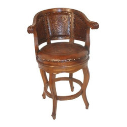 New World Trading - Colonial Cardenal Barstool w Custom-Finish Wood Frame & Decorative Hand-Tooled L - Value, quality and colonial style - this Cardenal barstool gives you a little bit of everything. It has a hardwood frame with rounded back and curved legs for stability. Genuine hand tooled leather seat & back give you that nestled-in comfort. You choose frame finish. Hand tooled leather seat and back. With arms. Colonial design. Pictured in Rustic. 20 in. L x 20 in. W x 43 in. H (33 lbs.)