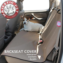 Majestic Pet - Majestic Pet Products Universal Waterproof Back Seat Cover - 78899500010 - Shop for Vehicle Seats Covers and Throws from Hayneedle.com! Keep those seats squeaky clean with the Majestic Pet Products Universal Waterproof Back Seat Cover keeping those paw prints at bay. This durable seat cover has nylon straps to easily install in your back seat. It even has cutouts for the seat belts. The cover is made from waterproof ballistic nylon that is durable and cleans with ease by hand or in the wash.