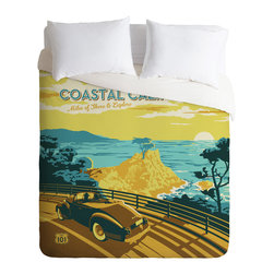 DENY Designs - Anderson Design Group Coastal California Duvet Cover - Turn your basic, boring down comforter into the super stylish focal point of your bedroom. Our Luxe Duvet is made from a heavy-weight luxurious woven polyester with a 50% cotton/50% polyester cream bottom. It also includes a hidden zipper with interior corner ties to secure your comforter. it's comfy, fade-resistant, and custom printed for each and every customer.