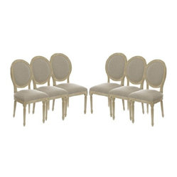 Vintage French Round Upholstered Side Chair Dining Chair, Set of 6
