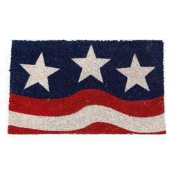 Entryways - Stars and Stripes Non Slip Coconut Fiber Doormat - This beautifully designed doormat will enhance your entry way or patio. It's made from the highest quality all natural coconut fiber with a PVC non slip backing.