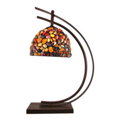 Bronze Finish Hanging Table Lamp W/ River Rock Shade - This incredibly cool metal table lamp has a bronze enamel finish. The curved base holds the bulb at the top, from which an 8` diameter shade made of epoxy and real river rocks shade. Measuring 20 inches tall, 15 inches wide and 8 inches deep, the lamp is perfect for use in any room. It has a soft bronzed finish to give it an antiqued look. The lamp makes a great gift! It uses nightlight style light bulbs up to 20 watts. (Light bulb is not included.)