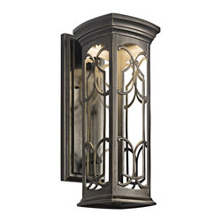 KICHLER - KICHLER Franceasi LED Traditional Outdoor Wall Sconce X-DELZO72294 - From the Franceasi Collection, this Kichler Lighting outdoor wall sconce features an LED light source that will provide ample lighting in an outdoor setting. A warm toned Olde Bronze finish is highlighted by this light, drawing attention to the finer details and the filigree pattern in the windows. Rated for use in wet locations. Meets Energy Star, Title 24 and Dark Sky requirements.