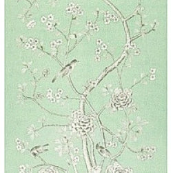 Chinois Palais Mary McDonald Fabric in Auqamarine - Mary McDonald for Schumacher  - Chinois Palais is a perfect choice for elegant curtain panels, duvets or wall upholstery.  Priced Per Panel and is 100% Linen from Italy