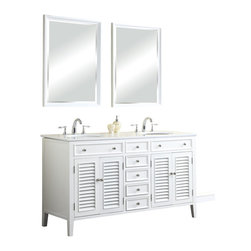 "Tennant Brand - 60"" Cottage Style Keri Single Sink Bathroom Vanity N1128-60W - Functional and stylish, the Cottage style Keri sink cabinet is the perfect place to store your bathroom accessories. This bathroom vanity will look great in your powder room because of its impeccable white marble top and classic appeal. The roomy interior and sturdy construction will bring a tranquil yet elegant feel to your bathroom. You'll love how easily it blends with your decorating theme. Order yours today."