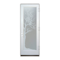 Sans Soucie Art Glass (door frame material Plastpro) - Glass Front Entry Door Sans Soucie Art Glass Winter Tree Private - Sans Soucie Art Glass Front Door with Sandblast Etched Glass Design. Get the privacy you need without blocking light, thru beautiful works of etched glass art by Sans Soucie! This glass provides 100% obscurity. (Photo is view from outside the home or building.) Door material will be unfinished, ready for paint or stain.  Bronze Sill, Sweep.  Satin Nickel Hinges. Available in other finishes, sizes, swing directions and door materials.  Dual Pane Tempered Safety Glass.  Cleaning is the same as regular clear glass. Use glass cleaner and a soft cloth.