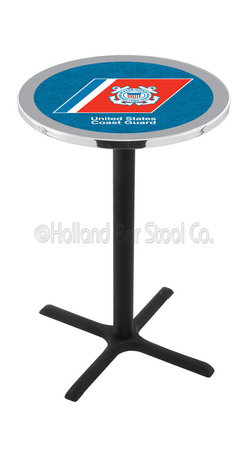 Holland Bar Stool - Holland Bar Stool L211 - Black Wrinkle U.S. Coast Guard Pub Table - L211 - Black Wrinkle U.S. Coast Guard Pub Table  belongs to Military Collection by Holland Bar Stool Made for the ultimate sports fan, impress your buddies with this knockout from Holland Bar Stool. This L211 U.S. Coast Guard table with cross base provides a commercial quality piece to for your Man Cave. You can't find a higher quality logo table on the market. The plating grade steel used to build the frame ensures it will withstand the abuse of the rowdiest of friends for years to come. The structure is powder-coated black wrinkle to ensure a rich, sleek, long lasting finish. If you're finishing your bar or game room, do it right with a table from Holland Bar Stool.  Pub Table (1)
