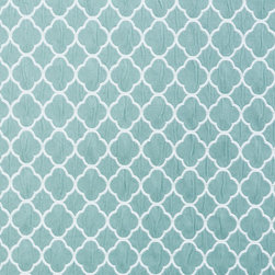 Geometric Lattice 5 Upholstery Fabric, Spa - This woven geometric/lattice has a spa blue tone and is is suitable for upholstery, drapery, bedding, table-skirts, and other decorative uses.