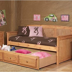 Chelsea Home - Chelsea Home Twin Day Bed with Trundle Storage - Caramel - 3534518-4549 - Shop for Beds from Hayneedle.com! Day or night the Chelsea Home Twin Day Bed with Trundle Storage - Caramel is ready to serve your child at any moment. This versatile day bed is made strong solid Ponderosa pine in a caramel finish. Hidden discreetly beneath your child will find ample trundle storage. About Chelsea Home FurnitureProviding home elegance in upholstery products such as recliners stationary upholstery leather and accent furniture including chairs chaises and benches is the most important part of Chelsea Home Furniture's operations. Bringing high quality classic and traditional designs that remain fresh for generations to customers' homes is no burden but a love for hospitality and home beauty. The majority of Chelsea Home Furniture's products are made in the USA while all are sought after throughout the industry and will remain a staple in home furnishings.