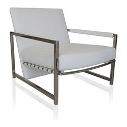 Evan Lounge Chair Snow White - Relax in style with the Evan Lounge Chair. The steel frame provides a sleek modern feel, and the snow white foam foundation provides comfort for days! Add refinement to your home without losing out on your relaxation level. The Evan Lounge chair is perfect for an indoor or outdoor patio, and is flawless enough to fit within any home.