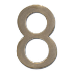 "Architectural Mailboxes - 5"" Floating House Number Antique Brass ""8"" - Your numbers look good. That's because your house numbers are solid brass with a classic antique finish. Best of all, you can attach them to the wall so they appear to float, making them even more handsome."