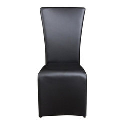 Diamond Sofa - Modern Dining Chair - Set of 2 - Set of 2. Warranty: One year. Made from polyurethane, polydacron and polyester fibers. Black color. No assembly required. 23 in. L x 19 in. W x 40 in. H (19 lbs.)The perfect example of sophistication, this chair by Diamond Sofa features a simple, sleek design that is impossible not to love. The leather-like finish on the seats and backs give a comfortable, supple feel. The leather-like finish makes clean up a snap and will last for years of enjoyment.