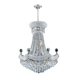 """Worldwide Lighting - Empire 12-Light Chrome Finish and Clear Crystal Chandelier 20"""" D x 26"""" H Medium - This stunning 12-light crystal chandelier only uses the best quality material and workmanship ensuring a beautiful heirloom quality piece. Featuring a radiant chrome finish and finely cut premium grade crystals with a lead content of 30%, this elegant chandelier will give any room sparkle and glamour."""