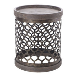 Madison Park - Quatrefoil Teal Blue Metal Drum Table, Gray - This gray on gray contemporary drum table with a quatrefoil metal base pattern, makes for an excellent conversation accent piece.